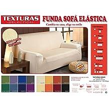 Funda de Sofá Elástica TEXTURAS SELECTION TÚNEZ ( Varios tamaños disponibles ) (4 PLAZAS ( 240-270 ), MARFIL)