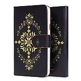 Urcover® Wiko Rainbow Schutz-Hülle Design Oriental Schwarz | Flip Cover Case Await Blau mit Magnet-Verschluss & Kartenfach| Fashion Klapp-Tasche | Hülle für Wiko Rainbow | Smartphone Zubehör