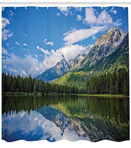ABAKUHAUS Duschvorhang, Alpen Berge über Einen Fluss Landschaft Natur Wald Tannenbaume Wolken Himmel Reflektion Druck, Wasser und Blickdicht aus Stoff mit 12 Ringen Schimmel Resistent, 175 X 200 cm