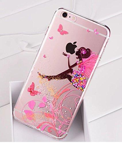 Cover Per iPhone 6 Plus / 6s Plus 5.5 Bling Glitter, Custodia Design Emoticon multicolore Trasparente Plastica Con Sabbia Mobili Blu Brillanti ,Vandot Shell 3D Quicksand Case Con Stella Fluente Liqui Papillon Girl