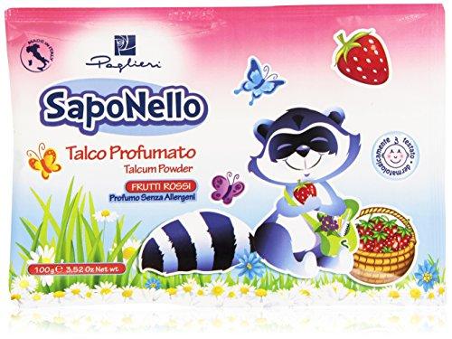 SapoNello - Talco Profumato, Profumo Senza Allergeni, Frutti Rossi - 100 g