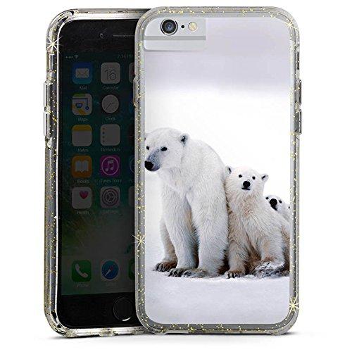 Apple iPhone 6 Bumper Hülle Bumper Case Glitzer Hülle Bear Baer Babybaer Bumper Case Glitzer gold