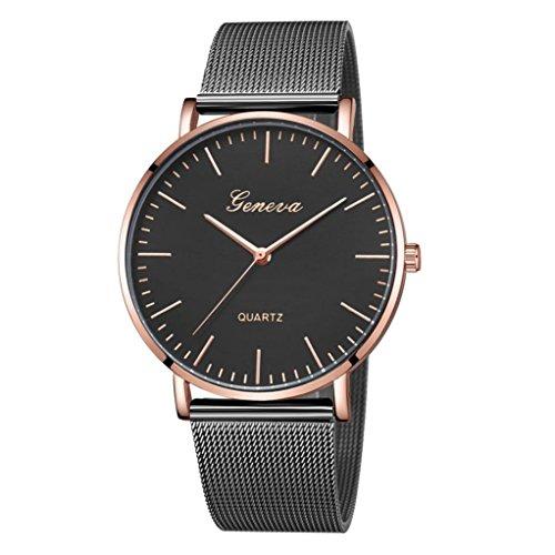 LSAltd Unisex Neue Luxusuhr Frauen Männer Klassische Edelstahlband Uhr Quarz Analog Armbanduhr Große Armband Schmuck (H)