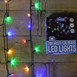 200 Multi Colored Static LED Christmas Lights - Outdoor or Indoor