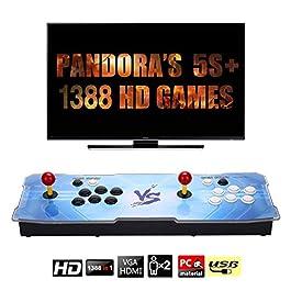 【Arcade Machine 1388 Giochi Classici】 Real Pandora Box 5s 2 Giocatori Joystick Arcade Console con 1388 Giochi Arcade 1280 * 720 Full HD, Supporto Completo PS3