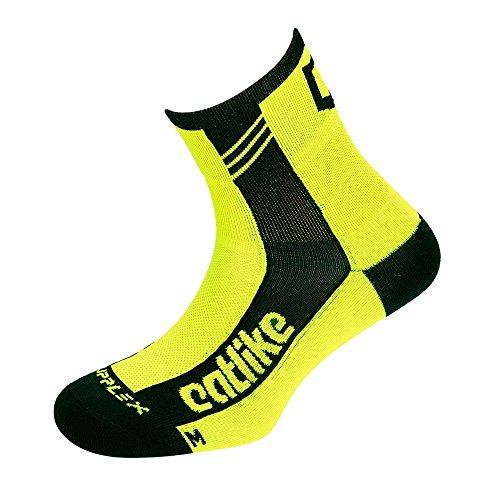 Calcetines ciclismo amarillo fluor y negro