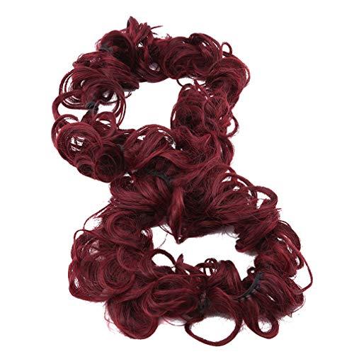 Kingus perruque enroulant le cercle de cheveux élastiques bandes de cheveux Accessoires de cheveux pour les femmes élégantes Bijoux, Vin rouge (2 / BG)