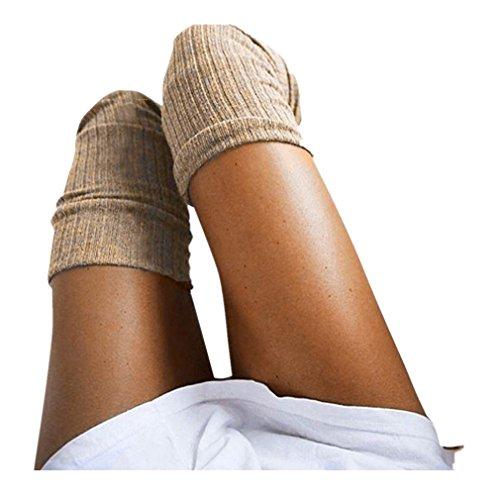 Mädchen Socken Rosennie Damen Oberschenkel hoch über dem Knie Socken langen Abschnitt Baumwolle Strümpfe warm Mode Elegant Frauen College Schenkel Gamaschen Boot Cosplay Kniestrümpfe (Khaki) (Frauen über Knie-strumpf)