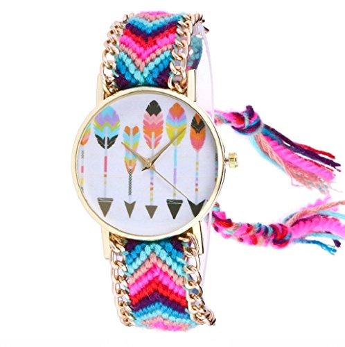 Sannysis Tejida Hecha a Mano Pulsera Trenzada Mariposa Dial Quarzt Reloj para Mujeres Color