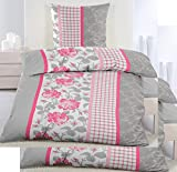 KH-Haushaltshandel 4-tlg. Biber Winter Bettwäsche 2X (135 x 200 + 80x80 cm), grau pinkrot weiß, Rosen Muster, Baumwoll Mischgewebe (40098)