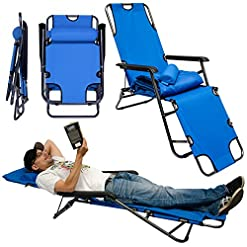 AMANKA Sedia a Sdraio Pieghevole   Prendisole con Comoda Imbottitura Removibile 178 cm + poggiatesta + poggiagambe + Schienale reclinabile