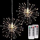 AIZESI 2 Stück Feuerwerk Licht Lampe Feuerwerk LED Lichterketten Innenbeleuchtung Lichterkette Batterie Außen Lichterkette mit Fernbedienung für Draußen,Weihnachten,Partys(warmes Weiß)