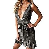 Damen Kleider Elegant Cocktailkleider Slim Fit Kurzarm Abendkleider V-Ausschnitt Partykleid Groß Größe Minikleid für Frauen Kleider Btruely