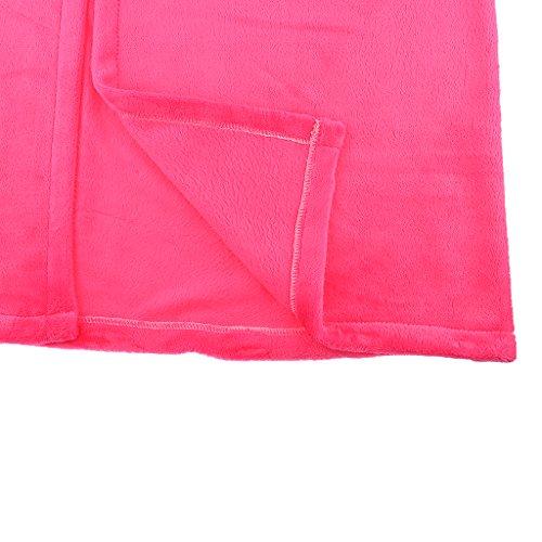 MagiDeal Peignoirs Femme Polaire Hiver Chaud en Polaire Doux rose rouge