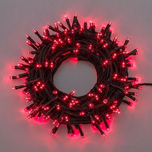 Xmasking catena 14,5 m, 240 led rossi, cavo verde, con memory controller, catena natalizia, luci colorate, decorazione luminosa