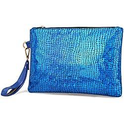 Promociones! Toamen Bolso colorido de la descoloración de las mujeres Cartera de embrague de calidad Billeter (Azul)