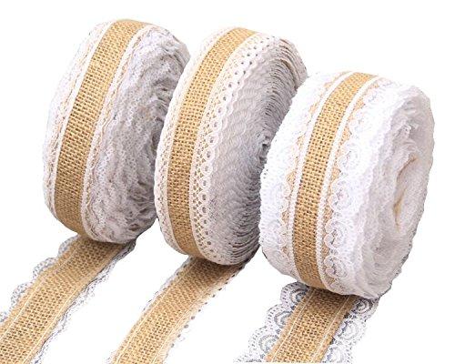 Yalulu 3 Stück 3*2M Vintage Leinwand Hessische Jute Lace Band Handwerk Farbband mit Weisse Spitzen für DIY Handwerk Hochzeit Haus Dekor (Und Bogen Farbband)