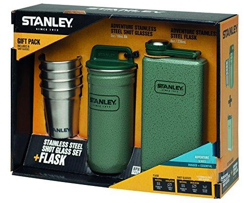 Stanley Erwachsene Adventure, Steel Spirits Gift Pintchen-Set, 18/8 Edelstahl, Hammerschlag Grün Taschenflaschen, Mehrfarbig, One Size