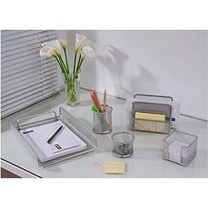 Set Organiseur de bureau MILAN - 5 accessoires - Design Mesh argenté- Idée Cadeau !