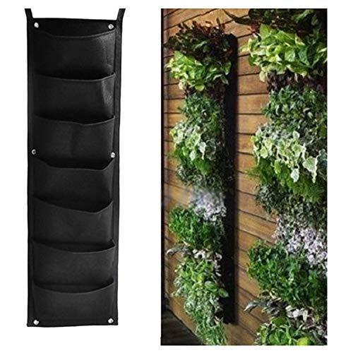 REDAPP 7 Taschen Garten Vertikale Wandbehang Gemüsepflanze Wachsen Aufbewahrungstasche Beutel Schwarz -