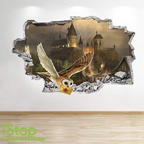 1Stop Graphics Shop Harry Potter Wandaufkleber 3D Optik - Schlafzimmer Kinder Hogwarts Wand Abziehbilder Z616 - Medium: 60 cm x 90 cm