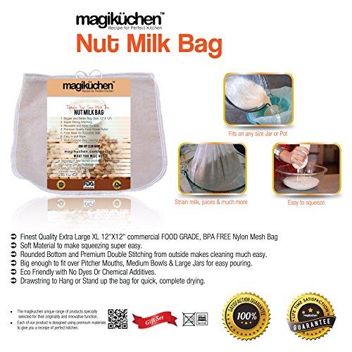 MagiKüchen Bolsa para hacer leche de frutos secos, nailon, Blanco, 12 x...