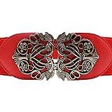 OSYARD Damen Gürtel Taillengürtel, Neue Mode Zubehör Legierung Blume Vintage Ledergürtel Gurtbänder für Frauen,Retro Waistbelt Taillenband mit Dekorativer Schnalle in Rot Braun