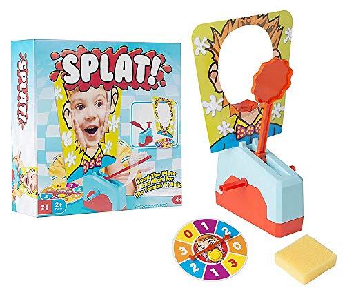 ¡Mire a sus amigos conseguir una cara llena en el hilarante Splat! Juego. Cargue el brazo con crema de squirty o el gunge de su elección y pegue su cabeza a través de la máscara de la tarjeta. A continuación, gire la ruleta para ver cuántas veces tie...