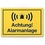 Achtung Alarmanlage Kunststoff Schild (gelb 30 x 20 cm) - Achtung/Vorsicht Alarmgesichert - Hinweis/Hinweisschild Alarm - Haus/Gebäude / Objekt