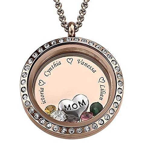 Runde Form Custom Personalisierte Anhänger Halskette bis zu gravierten 5 Namen und Birthstone für Mama Oma