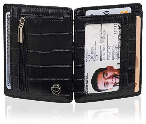 Noah noir® - portafoglio magico con vano portamonete, protezione certificata tÜv rfid (8 scomparti), effetto coccodrillo, in confezione regalo