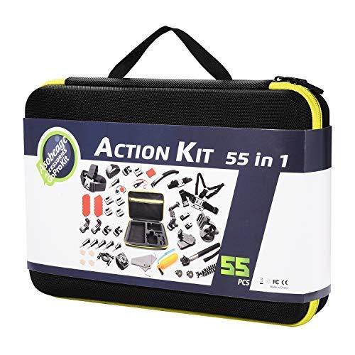 Asobeage 55-in-1 Kamera Zubehör Kit für Gopro Hero 7, Hero 4,5,6, Session, Schwarz, Hero 2018, Fusion, AKASO Yi APEMAN VIVITAR SJCAN XIAOMI DBPOWER EK5000 EK7000