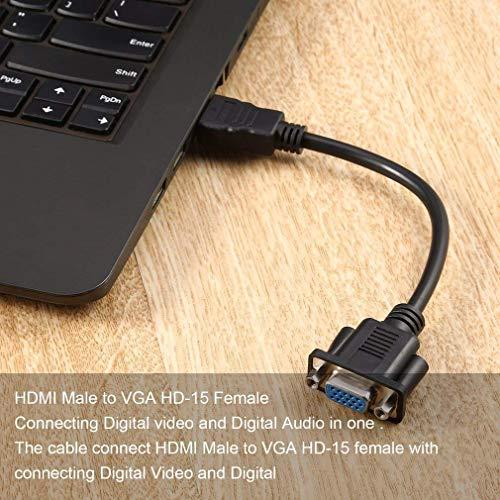 Vektenxi HDMI Stecker auf VGA D-SUB 15-polig weiblich Video AV Adapter Kabel für HDTV Set-Top Box langlebig und nützlich -