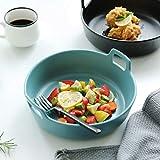 The Plate Co. LI Teller- Japanische Großraum-Keramik-Matte Ramen Bowl Obst- und Gemüsesalatplatte (1 Packung) Tableware (Farbe : Blau)