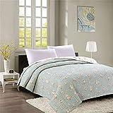 BIFANGQMY Einfach Bedruckte Quiltquilt, Baumwoll Bettdecke, Klimaanlage Gequiltet, Sommerlich Coole Waschmaschine Single Quilt (200 * 230 * 1),Green