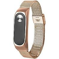 Para XIAOMI MI Band 2, ❤️ Manadlian Correa de reloj inteligente Moda Ligera correa de acero inoxidable Para Xiaomi Miband 2 (Oro rosa)