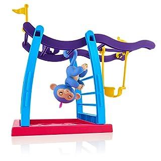 Wow Wee Fingerlings Spielset Klettergerüst mit Affenschaukel und Äffchen blau mit pinkem Haar Liv 3731 interaktives Spielzeug, reagiert auf Geräusche, Bewegungen und Berührungen