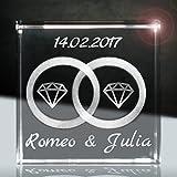 3D Laser Glaskristallwürfel   Layout: Ringe mit Diamanten zusätzlich zu deiner Wunschgravur (Namen, Datum und Zusatztexten - das ideale Liebesgeschenk für die diamantene Hochzeit)