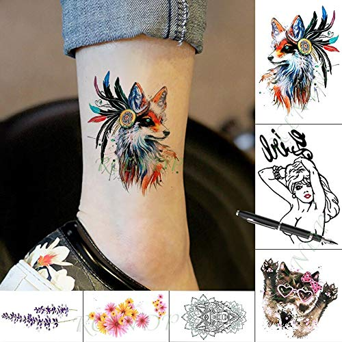 Tzxdbh impermeabile temporary tattoo sticker piuma gatto fox colore della penna animale falso tatto arte tatuaggi tatoo per kid
