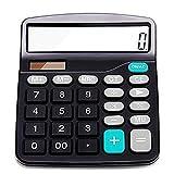 Calcolatrice, calcolatrice standard, energia solare e funzionamento a batteria, 12 cifre, ampio schermo LCD, pulsante grande, calcolatrice da tavolo (nero)