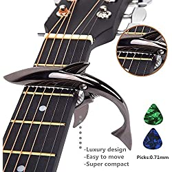 Capodastre en forme de requin en alliage de zinc pour guitare acoustique et électrique à 6 cordes, bonne sensation en main, ne fait pas vibrer les frettes, durable Noir