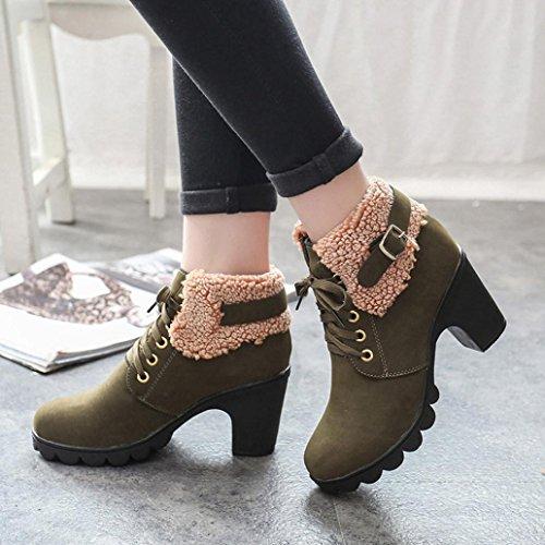 Longra Stivali da donna martini ad alto scarpone, scarponi corti in pizzo Verde