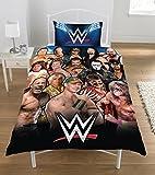WWE Legends Set Copripiumino in Percalle di Puro Cotone, 50/50 percento Poliestere, Multicolore, Singolo, 135 x 200 cm
