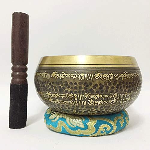 Tibetischer Buddhismus Klangschale Hand Hämmern Chakra Heilung stillen Geist Yoga Schüssel Set, Kupfer Chakra Meditation Geschenk (Color : Metallic, Größe : 17cm)