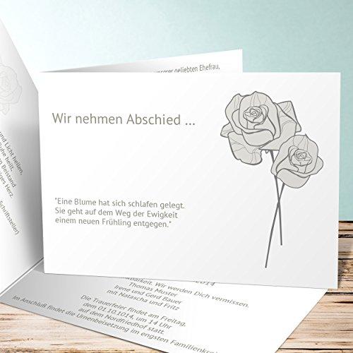 Einladungskarten Beerdigung, Adé 55 Karten, Horizontale Klappkarte 148x105 inkl. weiße Umschläge, Grün