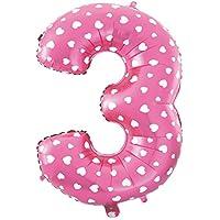 Cotigo-Globo número Blanco Corazón cumpleaños de 70cm rosa 3