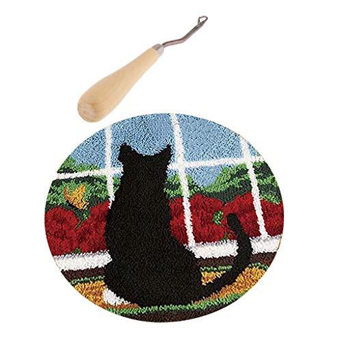 Baoblaze Latch Hook Rug Kit Katze, Teppich Knüpfset Knüpfteppiche für Kinder und Erwachsene
