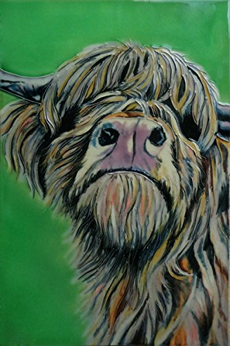 Decorative Cow Ceramic Picture Tile by Sam Fenner 8 x 12 by Arrow-Lane-Gifts