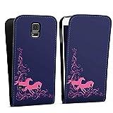 DeinDesign Samsung Galaxy S5 Neo Flip Case Tasche Hülle Pferde Reiten Rosa