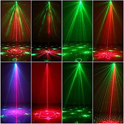 Party Lights DJ Disco Light RGB 3 Lens 36 Patterns Projector GEELIGHT Mini LED Strobe light Sound Activated Stage Lights Indoor for Birthday Parties Wedding Karaoke KTV Bar Christmas Halloween Decorations